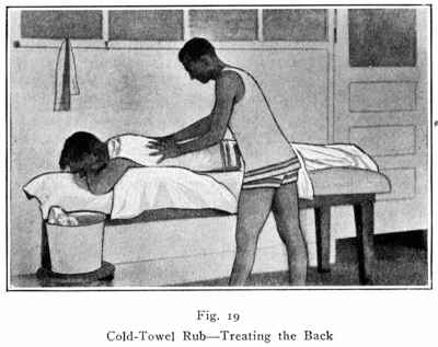 Cold Towel Rub - treating the back
